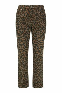 Womens High Rise Straight Leopard Jean - brown - 8, Brown