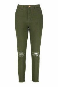 Womens Frayed Hem Distressed Skinny Jean - Green - 10, Green