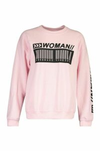 Womens Woman Barcode Oversized Sweatshirt - pink - M, Pink