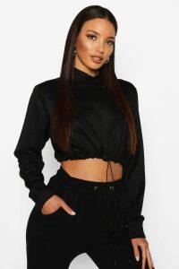 Womens Drawcord Cropped Hoodie - Black - 16, Black