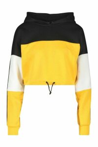 Womens Colour Block Sports Stripe Tie Crop Hoodie - yellow - 14, Yellow