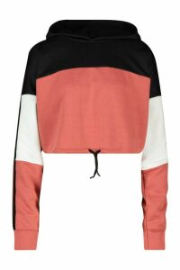 Womens Colour Block Sports Stripe Tie Crop Hoodie - Pink - 14, Pink