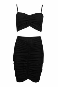 Womens Ruched Detail Crop And Mini Skirt Co-ord - black - 6, Black