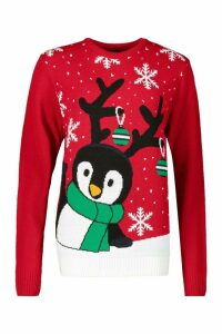 Womens Penguin With Snowflake Christmas Jumper - red - M, Red