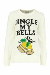 Womens Jingle Bell Christmas Jumper - white - M, White