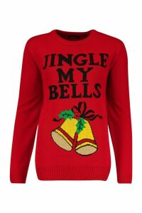 Womens Jingle Bell Christmas Jumper - red - S, Red