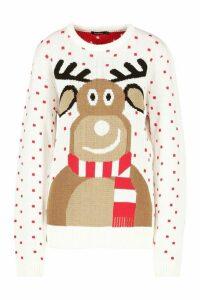 Womens Reindeer Scarf Christmas Jumper - white - M, White