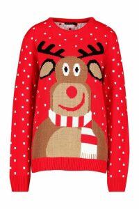 Womens Reindeer Scarf Christmas Jumper - red - M, Red