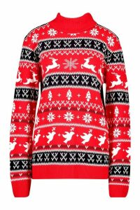 Womens Fairisle Christmas Jumper - red - M, Red