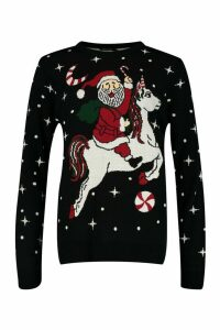 Womens Father Christmas On Unicorn Jumper - black - M, Black
