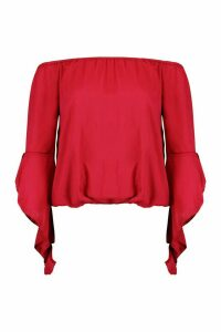 Womens Fluted Frill Sleeve Off The Shoulder Top - red - 8, Red