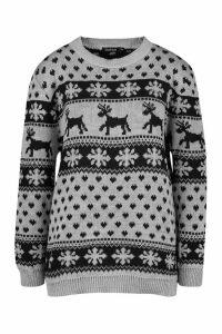 Womens Reindeer Hearts & Snowflake Christmas Jumper - grey - M/L, Grey