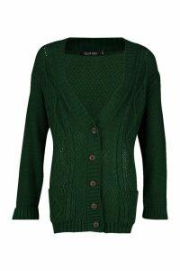 Womens Boyfriend Cardigan - green - M/L, Green