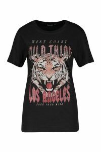 Womens Wild Thing Embellished Slogan T-Shirt - black - M, Black