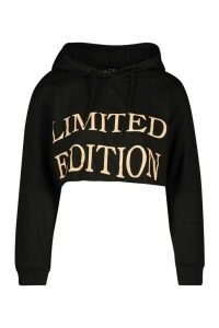 Womens Slogan Front Cropped Hoodie - black - 12, Black