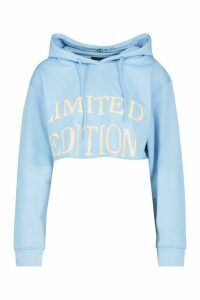 Womens Slogan Front Cropped Hoodie - blue - 14, Blue
