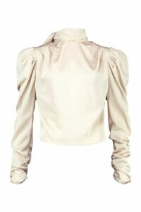Womens Satin Tie Neck Puff Shoulder Blouse - beige - S/M, Beige