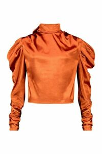 Womens Satin Tie Neck Puff Shoulder Blouse - orange - S/M, Orange