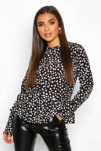 Womens Spot Print Woven Peplum Smock Top - black - 6, Black