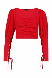 Womens Crepe Puff Sleeve Lace Cup Detail Top - red - 6, Red