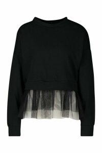 Womens Tulle Hem Sweatshirt - black - S/M, Black