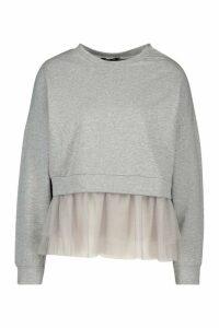 Womens Tulle Hem Sweatshirt - Grey - M/L, Grey