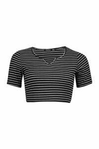 Womens Stripe Rib Notch Front Top - black - 14, Black