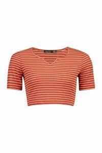 Womens Stripe Rib Notch Front Top - orange - 12, Orange