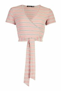 Womens Stripe Rib Long Sleeve Wrap Top - Pink - 14, Pink