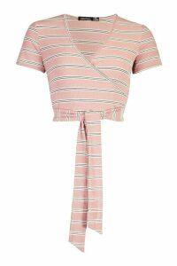 Womens Stripe Rib Long Sleeve Wrap Top - Pink - 14, Pink