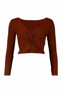 Womens Twist Front Long Sleeve Soft Rib Top - brown - 8, Brown