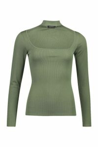 Womens Choker Detail Square Neck Top - green - 14, Green