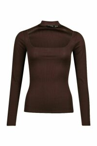 Womens Choker Detail Square Neck Top - brown - 8, Brown