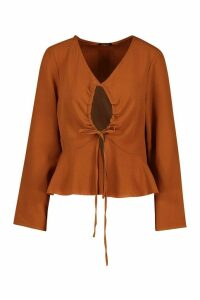 Womens Keyhole Tie Front Blouse - Beige - 12, Beige