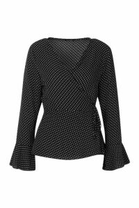 Womens Polka Dot Wrap Over Blouse - black - 8, Black