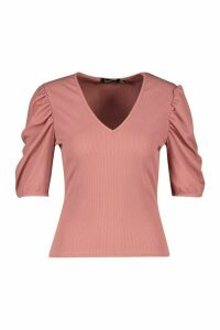 Womens V Neck Puff Sleeve Rib Top - Pink - 12, Pink
