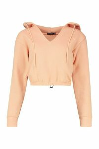 Womens Drawcord Crop Hoody - orange - M, Orange