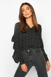 Womens Woven Heart Print Ruffle Detail Shirt - black - 10, Black