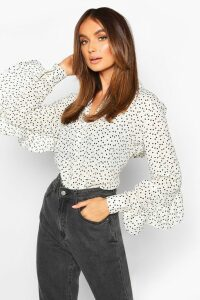 Womens Woven Heart Print Ruffle Detail Shirt - white - 14, White