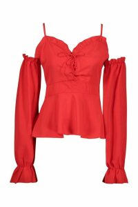 Womens Woven Cold Shoulder Lace Up Peplum Top - red - 6, Red