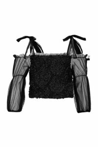 Womens Organza Tie SHouler Sequin Detail Top - black - M/L, Black