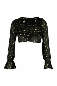 Womens Metallic Spot Ruffle Crop Blouse - black - 10, Black