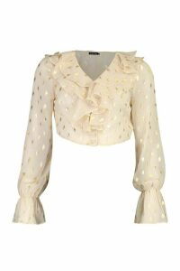 Womens Metallic Spot Ruffle Crop Blouse - Beige - 10, Beige