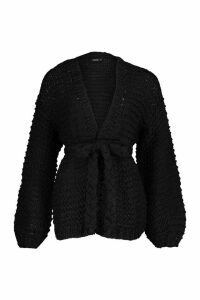 Womens Premium Hand Knitted Belted Cardigan - black - S/M, Black