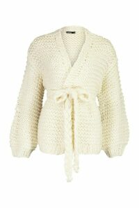 Womens Premium Hand Knitted Belted Cardigan - white - S/M, White