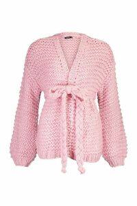 Womens Premium Hand Knitted Belted Cardigan - Pink - M/L, Pink