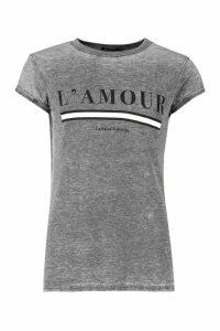 Womens L'Amour Acid Wash Slogan T-Shirt - grey - XL, Grey