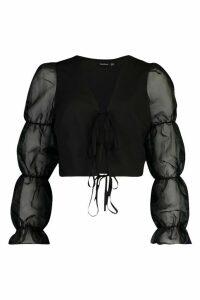 Womens Tie Front Volume Sleeve Organza Mesh Blouse - black - 14, Black