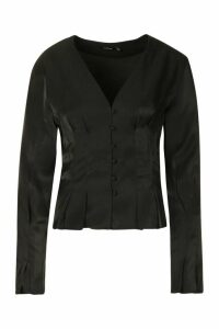 Womens Button Down Seam Detail Blouse - black - 12, Black
