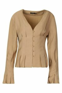 Womens Button Down Seam Detail Blouse - beige - 12, Beige